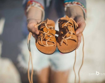 Baby classic lace up sandals /tan sandals/handmade in Greece/girl sandals