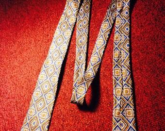 1950's silk skinny tie - 100% silk printed skinny neck tie