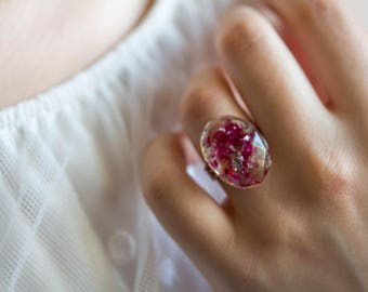 Ring Rose petals, resin Ring, impressively pretty silver Ring faceted  real rose flower and silver foil, jewelry for woman