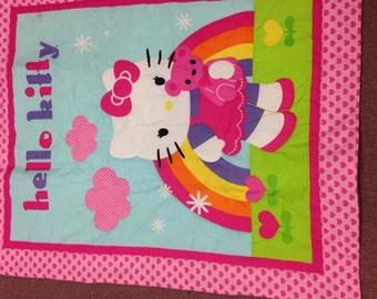 Girl baby quilt blanket Hello Kitty, monogrammed