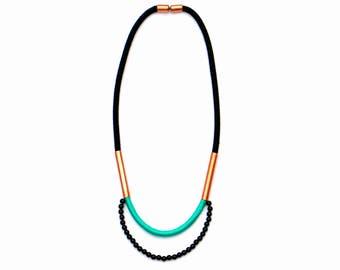 Contemporary Statement Necklace, Rope Necklace, Copper Necklace, Modern Beaded Necklace, Rope Jewelry, Black Necklace, Unique Necklace