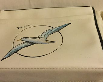 Vintage White Leather Tote - Beachy Hand Painted Seagull Design - by Florida Keys Handbags