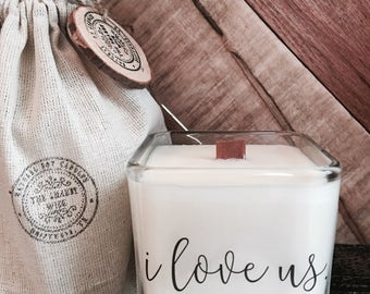 I Love Us   / Boyfriend Engagement  Gift / Girlfriend Engagement Gift / Candle With Message / I love you gift