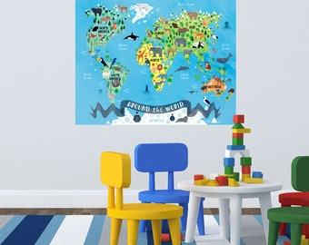 Around the world, animal nursery, World map animals, nursery map, animal world, Animal world Map, Watercolor World Map, Animal Nursery