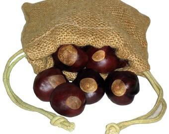 Buckeye Nuts - Twenty-Five Quarter Size in a Jute Burlap Drawstring Pouch