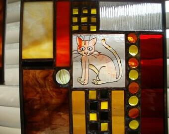 Orange Cheshire Kittycat Stained Glass Panel