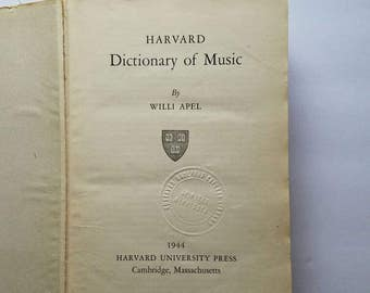 Harvard Dictionary of Music - 1944 Edition - Second Printing - Vintage Music Dictionary - Retro Music Dictionary - Antique Music Book