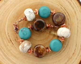 Many colors bracelet, turquoise bracelet, brown bracelet