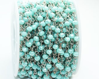 1 foot Turquoise Crystal Class Wire Wrapped Beaded Chain , Silver plated Brass Rosary Style Chain -WC0321