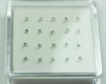 20pcs 1.5mm 925 Sterling silver Jewellery Findings Straight Nose Stud Ring ,1.5mm Rhinestone, 12mm pin-FDSSE00106