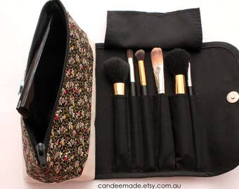Large Floral Makeup Bag with a Brush Roll and Magnetic Button.