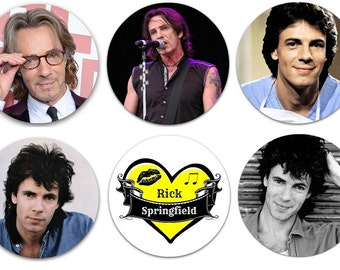 "Set of 6 Rick Springfield 1.25"" Pins Pinback Buttons, Flat Backs or Magnets"