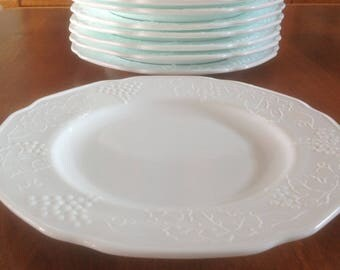 "Four (4) Colony HARVEST Milk Glass 9-3/4"" White Dinner Plates (8 Avail.)"