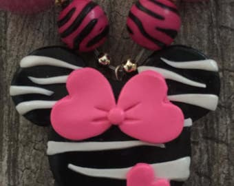 Zebra Print Minnie Mouse Inspired Polymer Clay Pendant Gum Ball Necklace