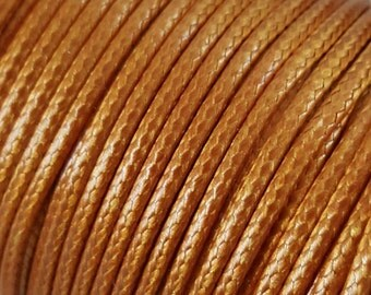 5 Metres 2mm KOREAN Waxed Cotton Cord - Round GOLD Cotton Wax Cord - Cotton Beading Stringing Cord - Australian Seller
