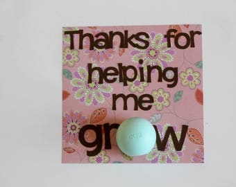 Thanks for Helping Me Grow • Teacher Appreciation Gift • Gifts for Teachers • Thank You EOS Lip Balm Card • Gift for Her • Team Leader Gift