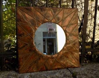 Miroir cuivre etsy for Miroir soleil cuivre