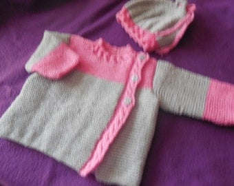 Hand-knitted coat asymmetric baby birth to 6 months -