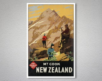 Mt Cook New Zealand Vintage Travel Poster, 1936 - Poster Print, Sticker or Canvas Print