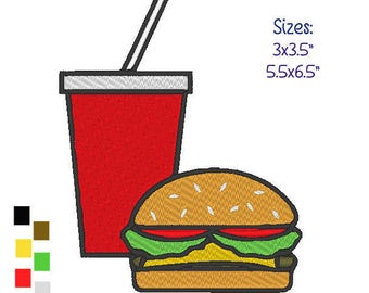 Machine Embroidery Design- Hamburger and Soda .PES Format