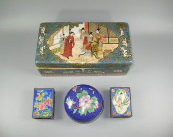 A Vintage Chinese Porcelain Box and Three Cloisonne Items