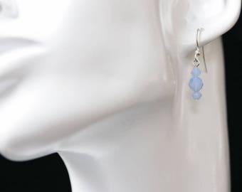 Little Swarovski Air Blue Opal Crystal Earrings