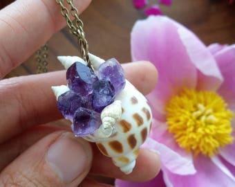 Mermaid treasure trove necklace, Mermaid necklace, seashell necklace