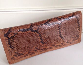 Vintage snake skin and leather clutch