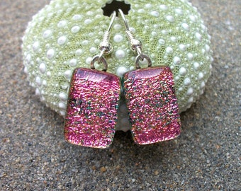 Pink Dichroic Glass Dangle Earrings