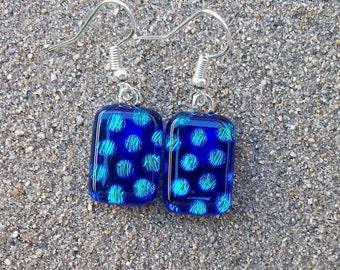 Deep Sea Blue and Aqua Dichroic Glass Dangle Earrings