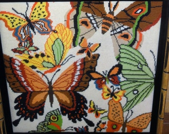 Vintage 1970's Needlepoint /Butterflies
