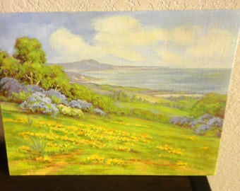 Small Oil Painting on Board/ Ocean/ Mountains/Rolling Hills/Unsigned/Unframed