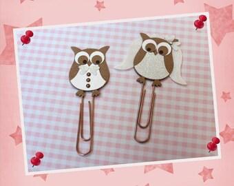 "Bride and groom - clip - bookmark ""OWL"""