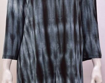 Plus Size Hippie Boho Chic Tie Dye Split Tunic Top Grey Freesize 18 20 22 24 26 28 30 32 34