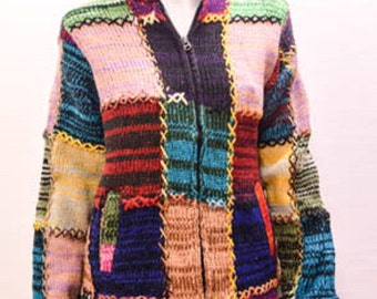 Boho Gypsy Hippie Patchwork Knit Stitch Detail Hooded Cardigan Two Tone Multi