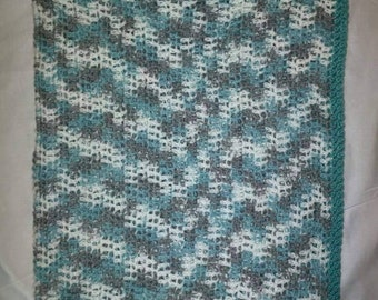 Crocheted Teal, Gray, and White Baby Blanket Beach Shore Cottage Colors