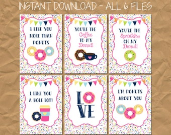 INSTANT DOWNLOAD - Donut Kid's Valentine's Day Cards