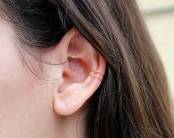 Conch piercing, no piercing needed, clip on ear cuff, conch earring, double conch earring, double conch cuff, double wrapped ear cuff