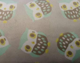 Grey, Turquoise, Yellow and White Owl Minky Fabric BTY