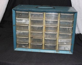 NEW LOW PRICE Akro Mills 24 Drawer  Organizer / Blue Metal / Industrial / Parts Drawer / Tool Chest / Tool Box / Parts Bin