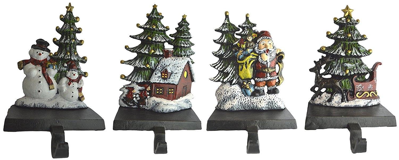 christmas stocking holder set of 4 hooks sleigh by. Black Bedroom Furniture Sets. Home Design Ideas