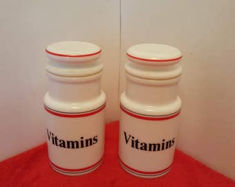 Vintage milk glass Vitamins container / his and hers vitamins / glass vitamin containers