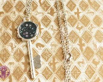 Dark Bue Galaxy Key Charm Necklace - Nickle free