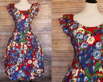 1980's Floral Dress | 80s Dress | 1950s Floral dress | 1980s Red Dress | 80s Dress | 50s red dress | 1980s does 1950s