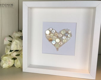 Cream Heart Artwork, Cream Heart Picture, Cream Button Picture, Personalised Picture, Wedding Gift, Wedding Picture, Gift for her