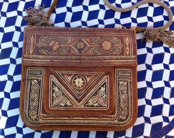 Vintage MOROCCAN LEATHER BAG Multi-Pocket