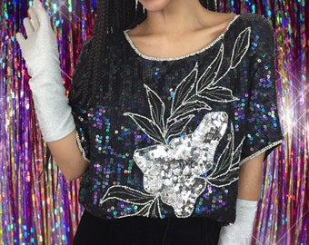 20's Sequined Silk Party Blouse