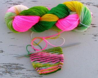 Spring colors sock yarn, Self striping hand dyed yarn, Nylon sock yarn, DK 8 ply yarn