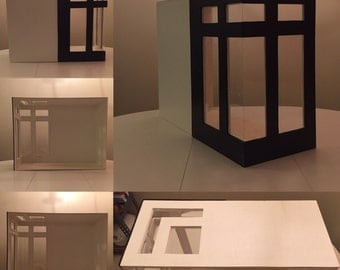 1:6 scale Empty room box w/ large modern corner windows and contrast color exterior for Blythe, barbie, momoko, monster high
