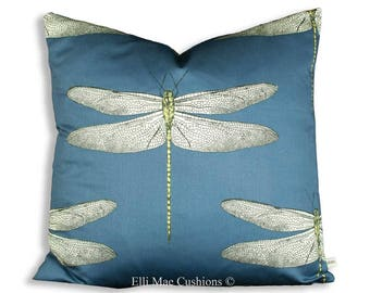Harlequin Demoiselle Blue Dragonfly Designer Fabric Throw Cushion Pillow Cover